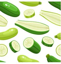 Seamless pattern with cartoon zucchini vector