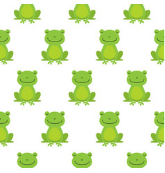 seamless pattern with cute frogs vector image