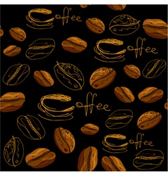 Seamless pattern with handdrawn coffee cups beans vector