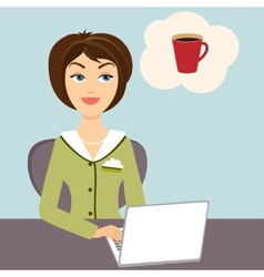 Secretary with mug of hot coffee vector image