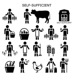 self-sufficient farmer icons set self sufficiency vector image