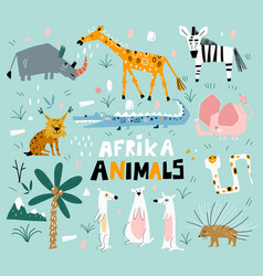 Set african animals in a flat style set vector