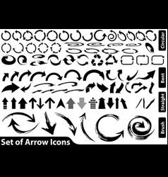 set black arrow icons vector image