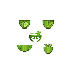 set bowl and leaf healthy food logo designs vector image