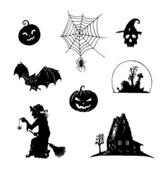 set halloween icons all saints day vector image
