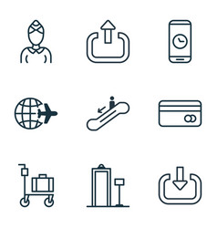 Set of 9 traveling icons includes exit enter vector
