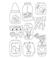 set of hand drawn of a mason vector image