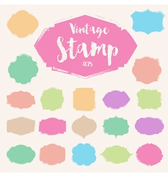 Set pastel colour vintage stamp blank frame vector