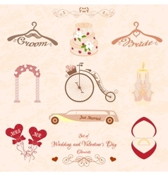 Set wedding and valentines day elements vector