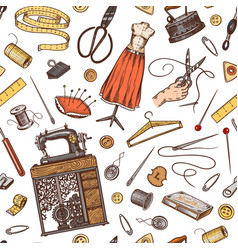 sewing seamless pattern tools and elements or vector image