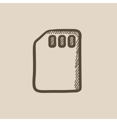 Sim card sketch icon vector