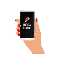 Smart phone in hand with flight booking icon vector