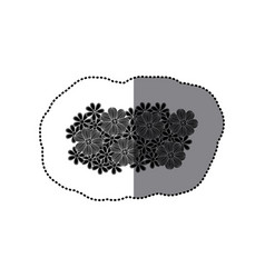 sticker black pattern with white contour floral vector image