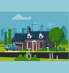 Suburban house scene vector