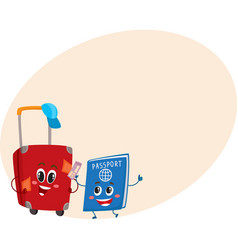 suitcase and passport characters travelling vector image