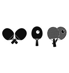table tennis equipment icons set simple style vector image