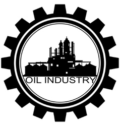 the icon with oil refinery vector image