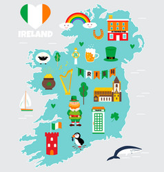 tourist map ireland with landmarks and symbols vector image