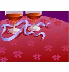 two wine glass and ribbon vector image