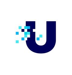 U letter pixel mark digital 8 bit logo icon vector