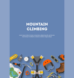 vertical banner flat design equipment for climbing vector image