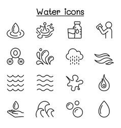 Water liquid aqua icon set in thin line style vector