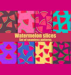 Watermelon set seamless pattern triangular vector