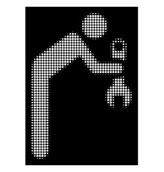 White halftone serviceman icon vector