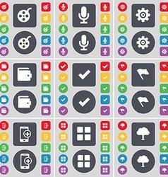 Window Microphone Gear Wallet Tick Flag Smartphone vector