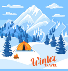 winter trawel beautiful landscape vector image