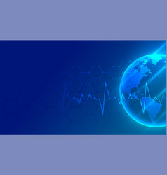 World medical and healthcare blue background with vector