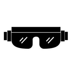 black icon snowboard protective glasses vector image