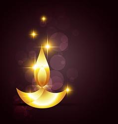 Glowing diwali diya on a background vector image