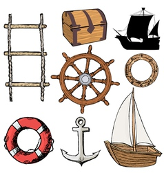 marine related objects vector image vector image