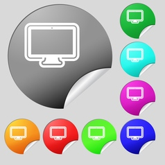 monitor icon sign Set of eight multi colored round vector image vector image