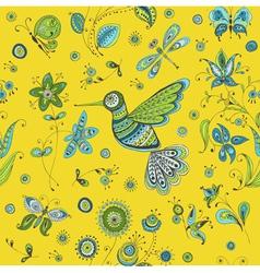 Spring Summer Doodles - bird butterflies flowers vector image