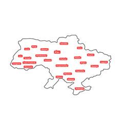 thin line ukraine map with regional centers vector image