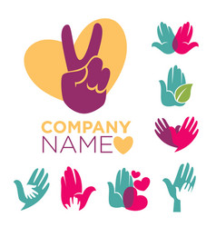 charity company emblems set with colorful human vector image vector image
