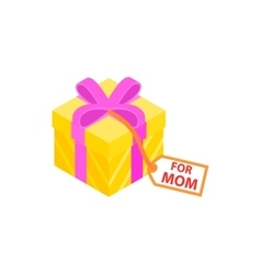Gift box with pink ribbon and for mom card icon vector image vector image