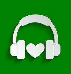 headphones with heart paper whitish icon vector image