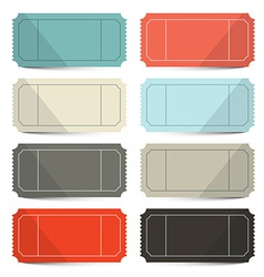 Retro Empty Tickets Set Isolated on White vector image vector image