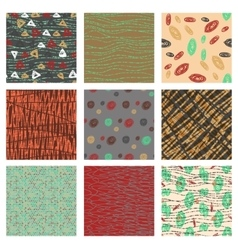 Set of hand drawn patternswith dotted lines vector image vector image