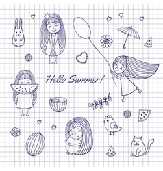 Sketch Hello summer vector image vector image