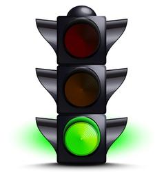 traffic light on green vector image vector image