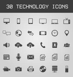 30 Dark technology icons vector image