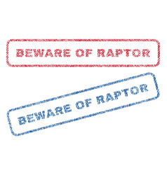 beware of raptor textile stamps vector image vector image