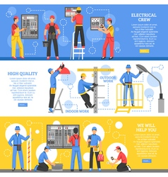 Electrical works horizontal banners vector