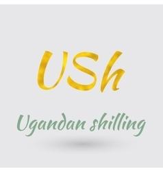 Golden Symbol of Ugandan Shilling vector image