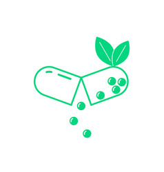 green opened pill with leaf vector image