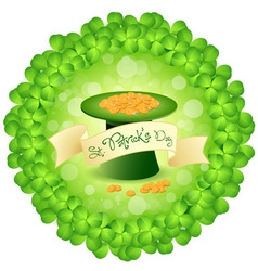 Patricks Day Leprechaun Hat with Gold Coins vector image